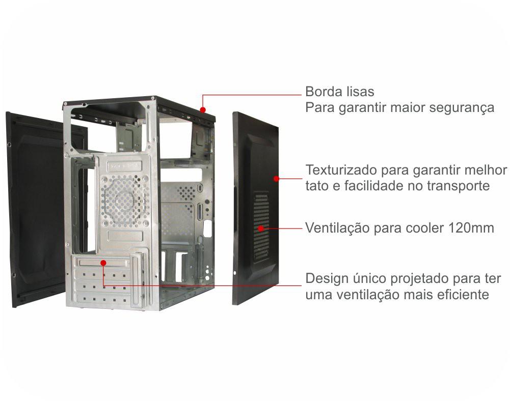 Gabinete Atx K-Mex GM-02T9 S/Fonte (Preto)