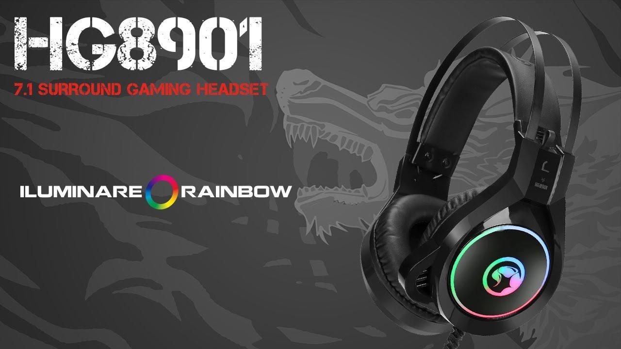 Headset Gamer C/ Mic. Marvo Scorpion HG8901 Rainbow RGB (Preto)