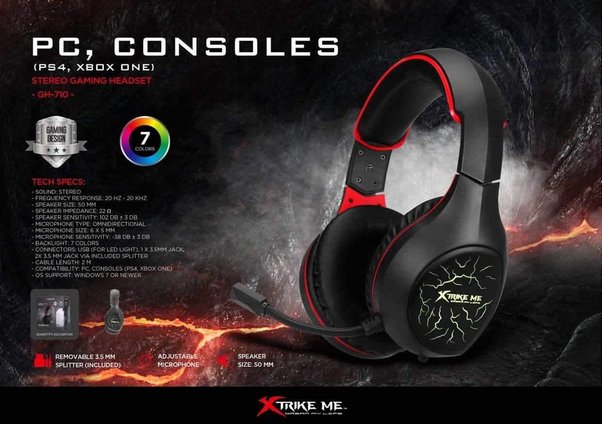 Headset Gamer C/ Microfone GH-710 Xtrike (PS4, Xbox One) efeitos Led