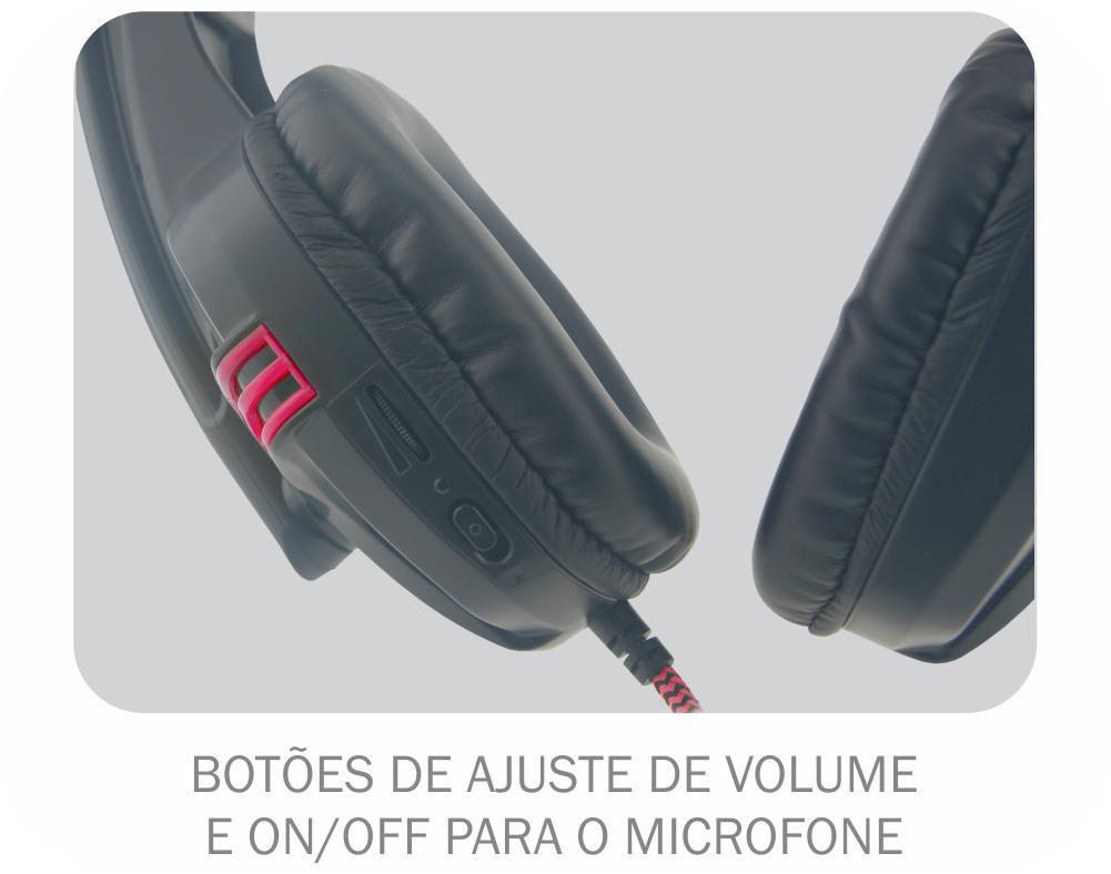 Headset Gamer K-Mex AR-S1080 Stereo C/microfone Preto/Vermelho.