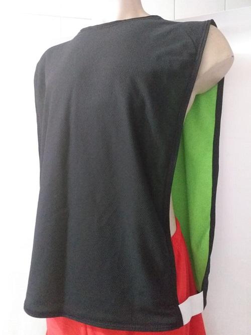Jogo com 5 Colete Dupla Face Preto/Verde Futebol Kit Treino