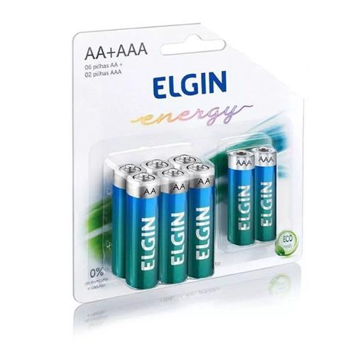 Kit 10 Blister Pilha Alcalina 1,5V 6 AA + 2 AAA Elgin (Blister C/8)