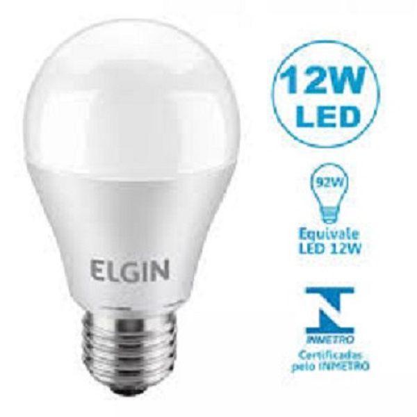 Kit 10 Lampadas Led 12w Bulbo E27 BiVolt Elgin Branca 1100LM - Inmetro