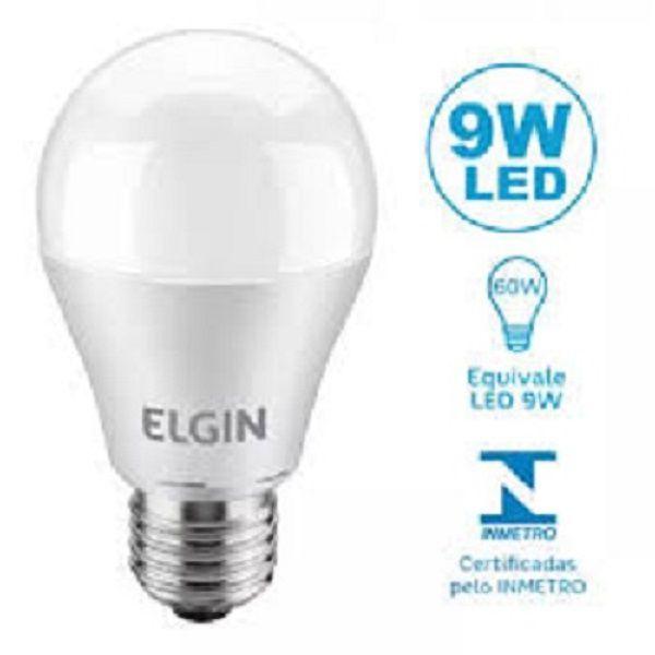 Kit 10 Lampadas Led 9w Bulbo E27 BiVolt Elgin Branca 850LM - Inmetro