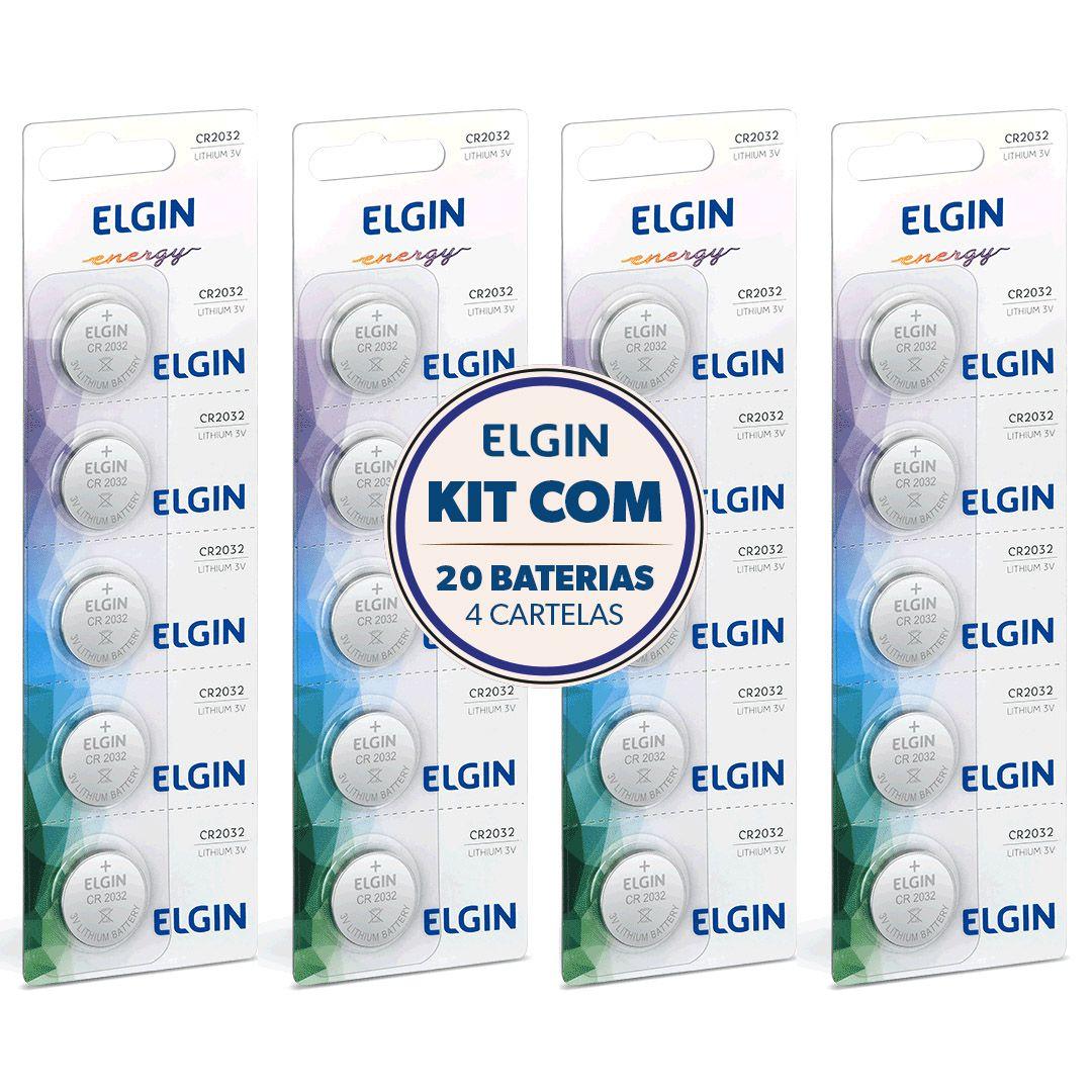 Kit 4 Cartelas Bateria Lithium 3v Cr2016 Elgin (Blister C/5)