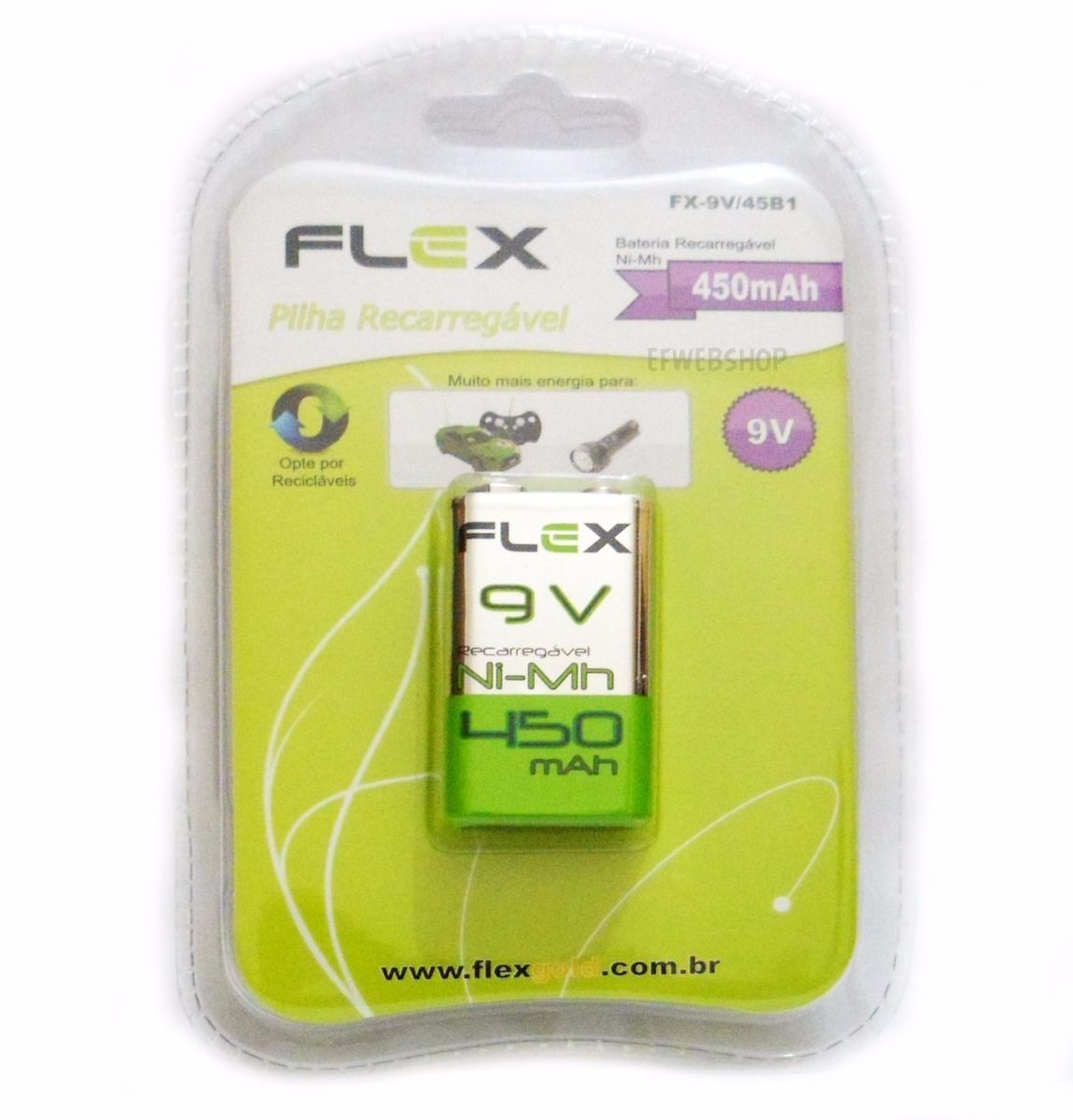 Kit 3 Bateria Recarregavel 9v 450Mah Flex - Original (Blister)