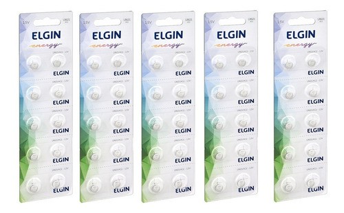 Kit 5 Cartelas Bateria Alcalina Lr621 / AG1 Elgin (Cartelas c/10)