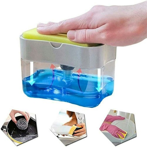 Kit 5 Dispenser Dosador Porta Detergente Suporte Bucha Esponja