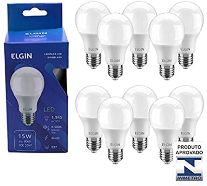 Kit 5 Lampada Led 15w Bulbo E27 BiVolt Elgin Branca 1350LM - Inmetro