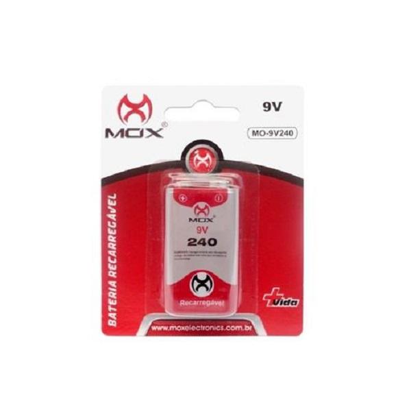 Kit Carregador Mox Cp50 + 2 Baterias Recarregável 9v 240mah Mox