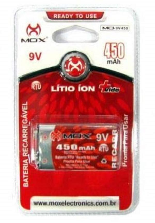 Kit Carregador Mox Cp50 + Bateria 9v Recarregável 450Mah Mox