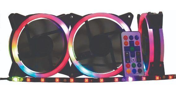 Kit Cooler Pc Gamer 120mm ARGB Double C/Contr.Rem + Fita AF-J1225 K-Mex