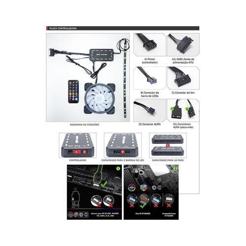 Kit Cooler Pc Gamer 120mm ARGB RAINBOW C/Contr. e C/Rem AK-AAE1 K-Mex
