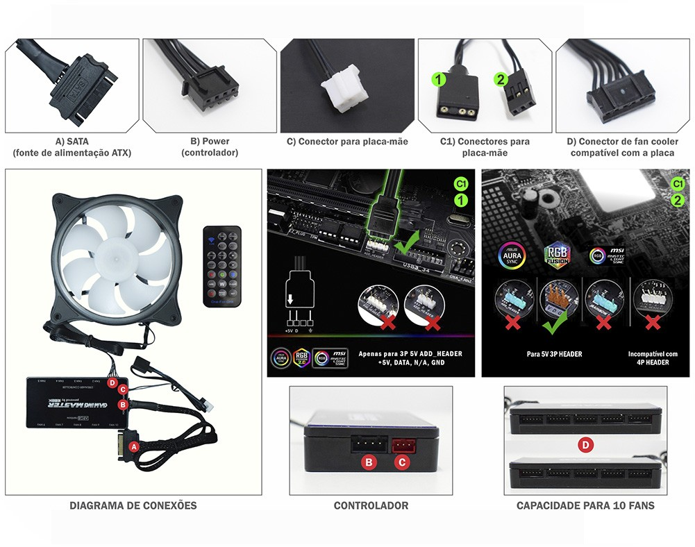 Kit Cooler Pc Gamer 120mm ARGB Streamer C/Contr.Rem AK-AAD1 K-Mex
