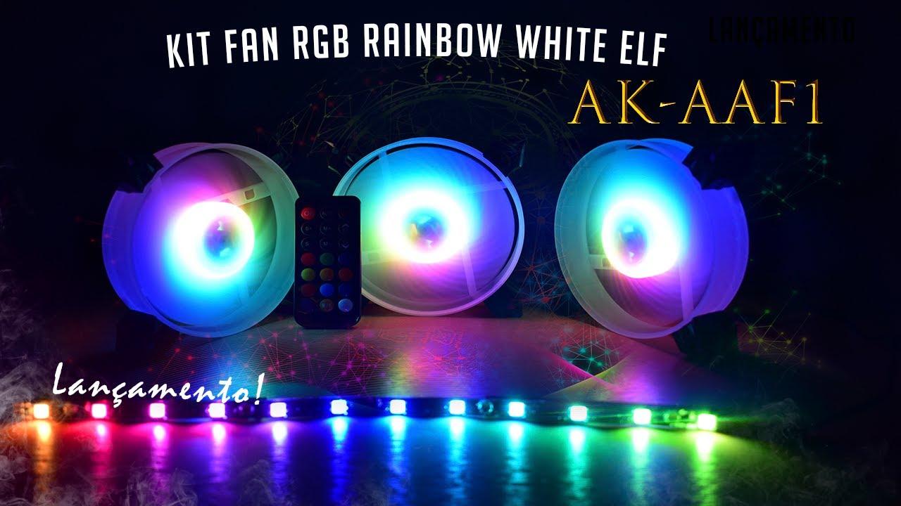 Kit Cooler Pc Gamer 120mm ARGB White ELF C/Contr.Rem + Fita AK-AAF1 K-Mex