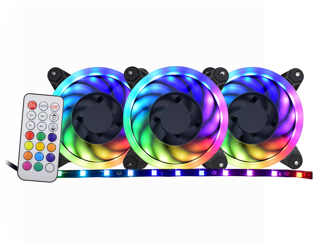 Kit Cooler Pc Gamer 120mm RGB Double C/Contr.Rem + Fita AF-X1225 K-Mex