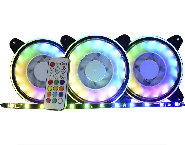 Kit Cooler Pc Gamer 120mm RGB Double C/Contr.Rem + Fita AF-Y1225 K-Mex