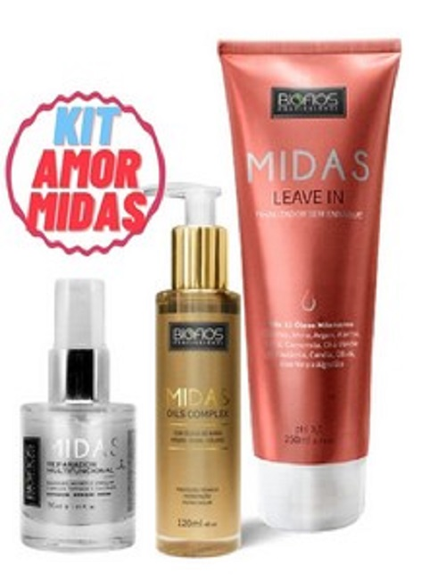 Kit creme de hidratação profissional Midas BioFios ( Leave In + Oléo + Reparador )