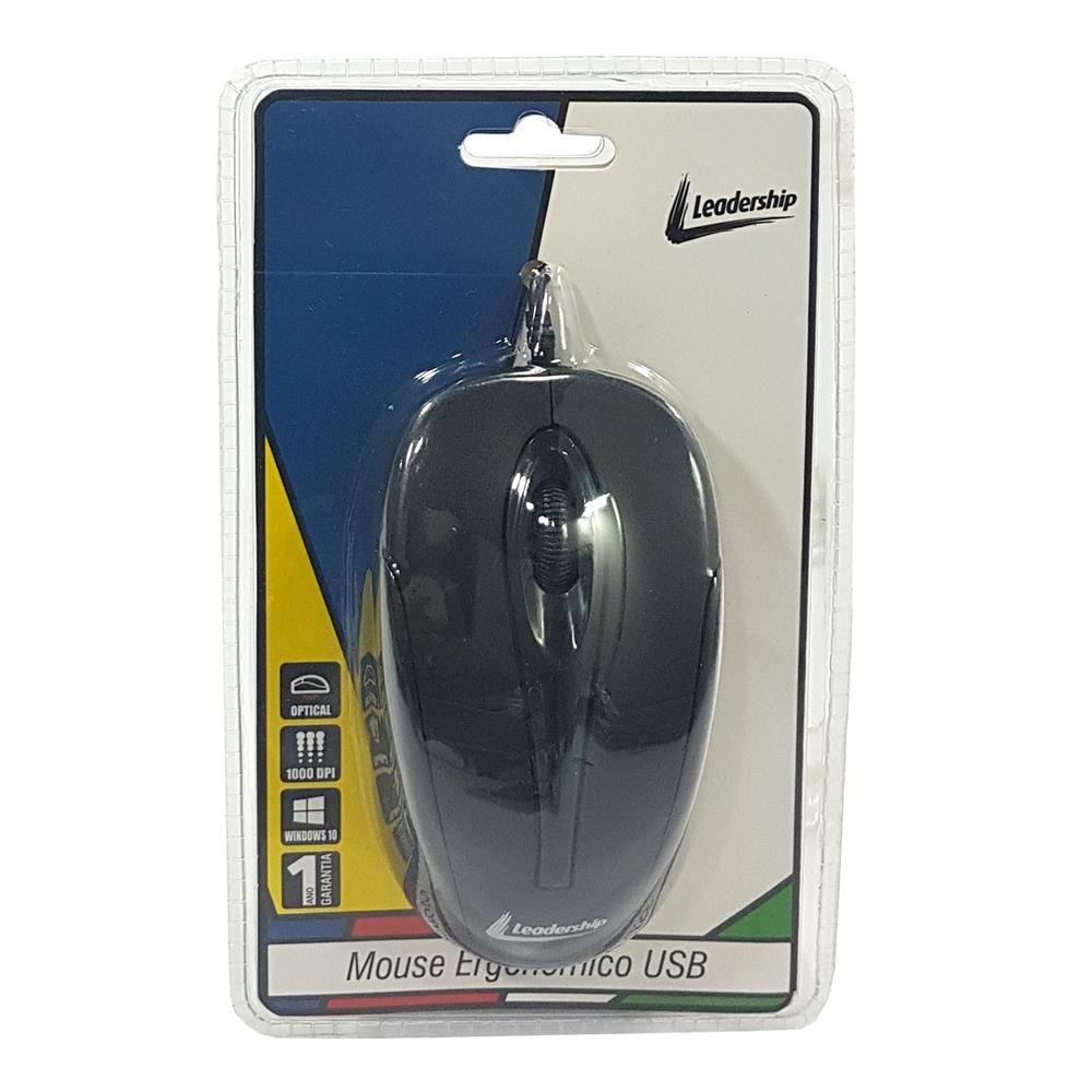 Mouse Ergonômico USB Preto Leadership (800dpi)