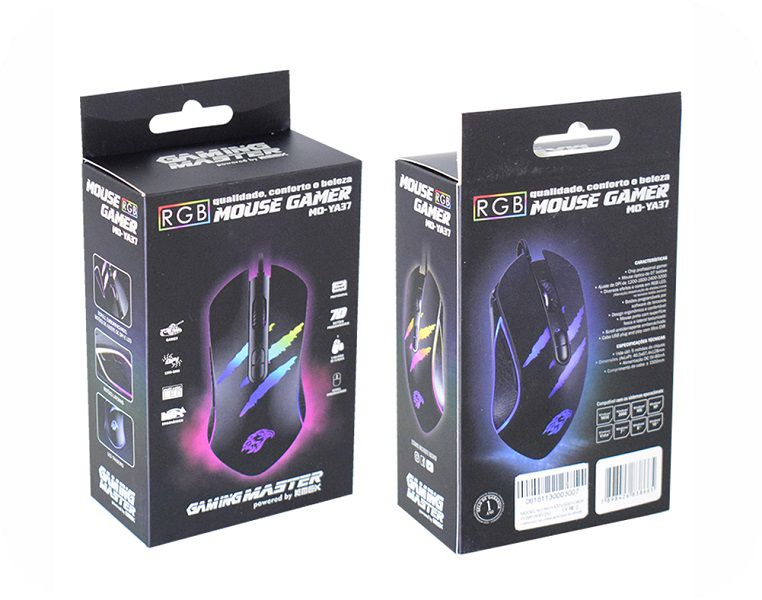 Mouse Gamer K-mex Mo-ya37 Led Rgb 3200 Dpi C/ 7 Botoes