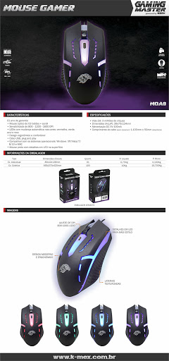 Mouse Gamer K-mex MoA8 Led Rgb 1600 Dpi C/ 3 Botoes