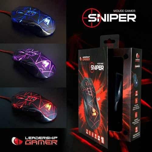 Mouse Gamer LeaderShip Sniper Led 3200Dpi C/ 7 Botoes