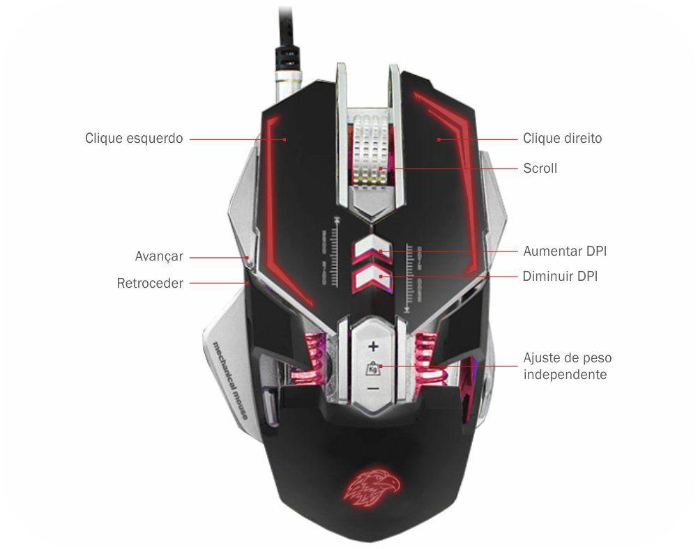 Mouse Mecânico K-Mex Gamer 3200Dpi Mo-d837 C/ Led