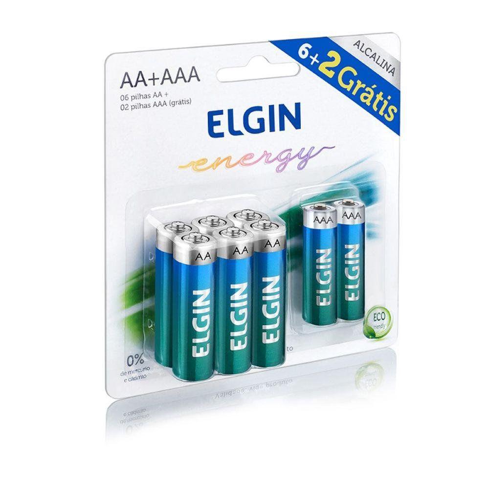 Pilha Alcalina 1,5V 6 AA + 2 AAA Elgin (Blister C/8)