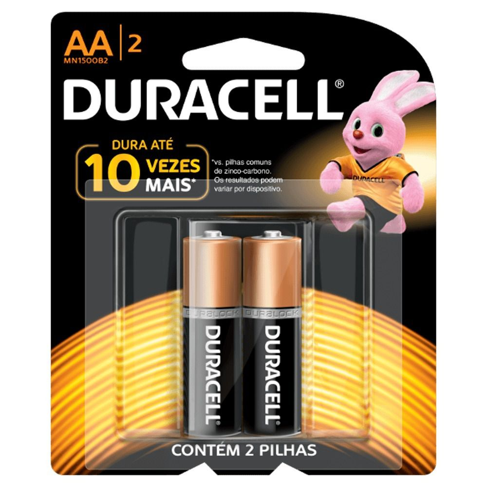 Pilha Alcalina Aa 1.5v Duralock Duracell (Blister C/2)