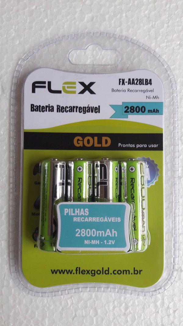 Pilha Recarregável Aa 2800mah Blister C/4 Flex Gold (Pronta pra Uso)