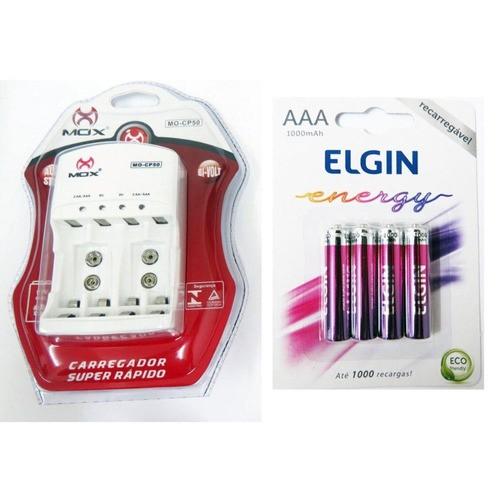 Pilha Recarregavel Aaa 1000mah C/4 Elgin + Carregador CP-50 Mox