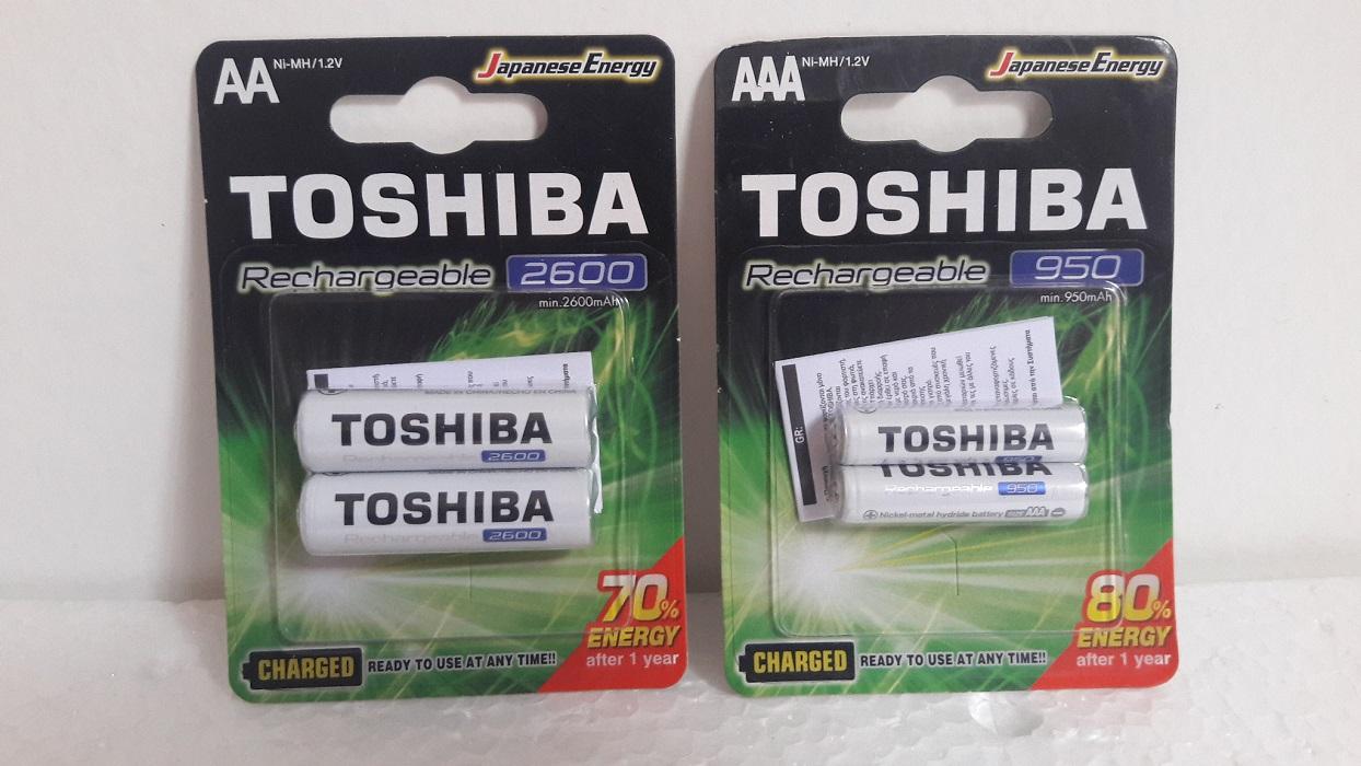 Pilha Recarregável AAA 950mah C/2 + Aa 2600mah C/2 Toshiba