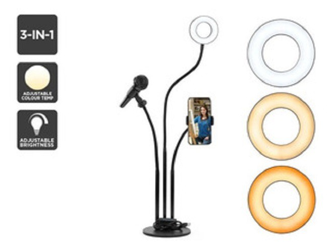 Ring Light Led 12w + Tripé + Suporte P/ Celular e Mic. X-Cell XC-RL-03