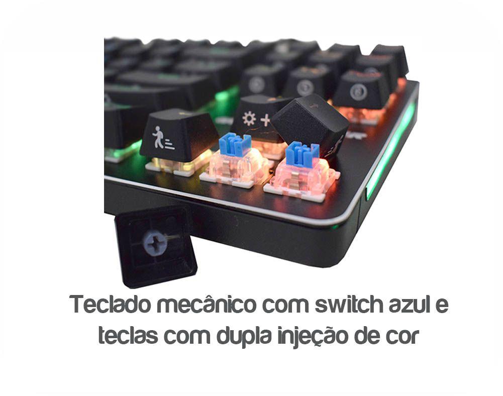 Teclado Gamer K-mex Mecanico KM-D928 (Multiplos Efeitos de LED)