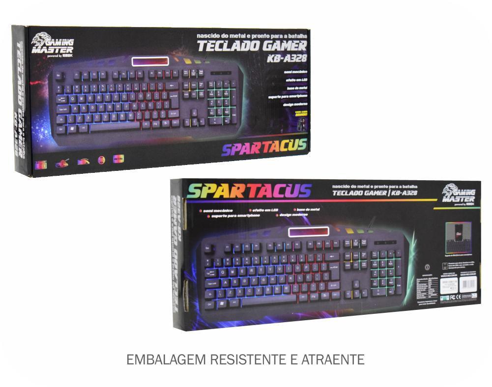 Teclado Gamer K-mex Semi-Mecanico KB-A328 Spartacus (Efeitos de LED nas teclas)