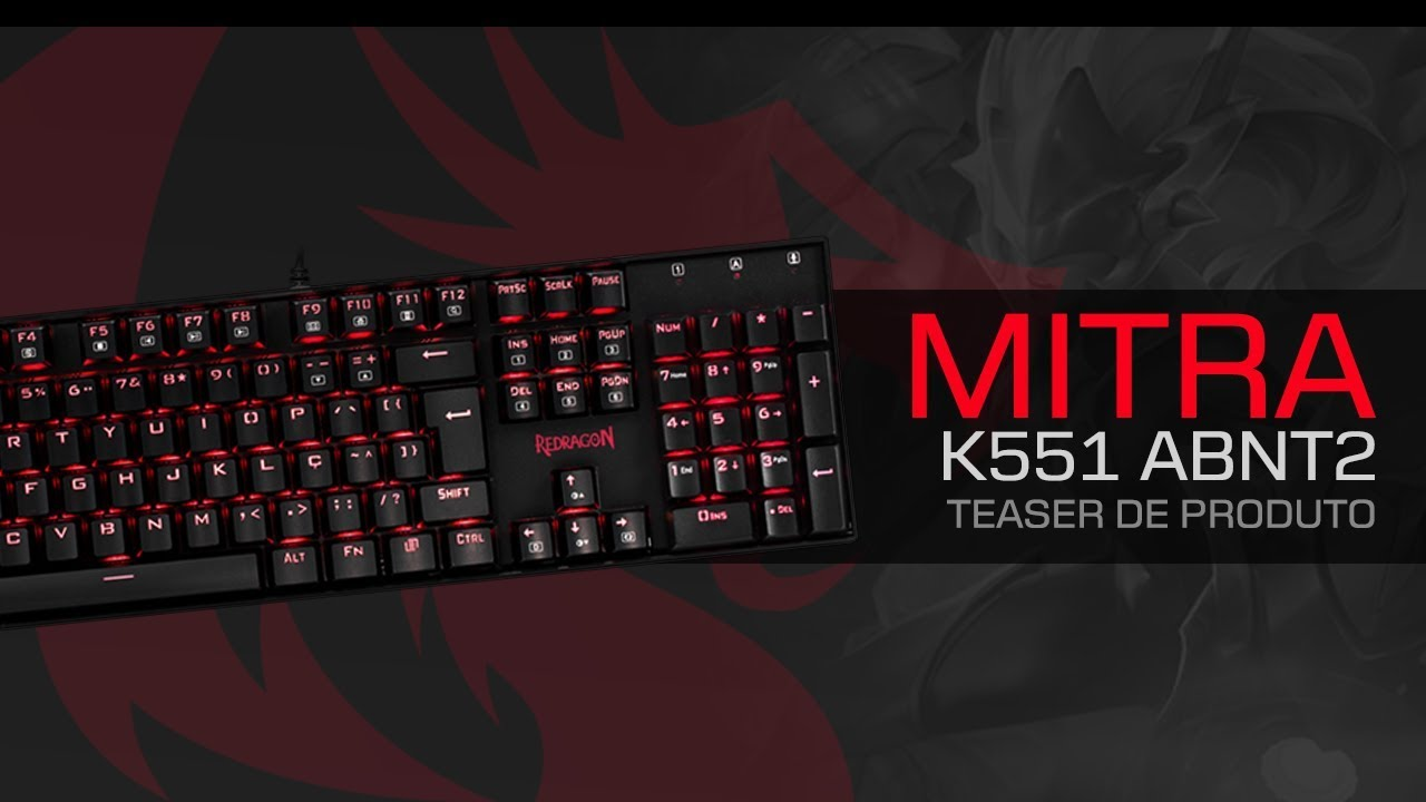 Teclado Gamer Mecanico Redragon Mitra K551 switch Blue Abnt2 Led Red