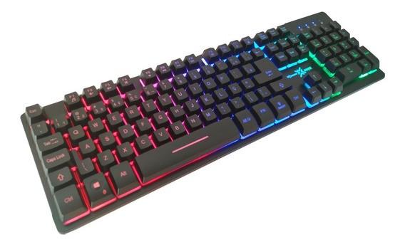 Teclado Gamer Usb Maxxtro Semi-mecanico K709 (Função RGB LED)