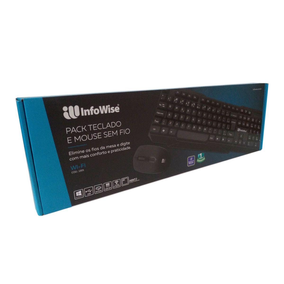 Teclado e Mouse Sem Fio 2.4Ghz 1301 infowise (Preto)