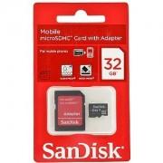 Cartão de Memória Micro-SDHC 32GB - c/ Adaptador SD - SanDisk