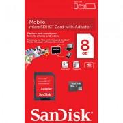 Cartão de Memória Micro-SDHC 8GB - c/ Adaptador SD - SanDisk