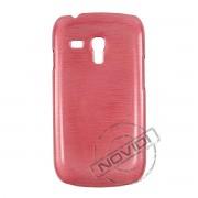 Capa Rígida com Efeito Escovado para Samsung Galaxy S III Mini I8190 - Cor Vermelha