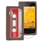Capa Personalizada Fita Cassete para LG Nexus 4 E960 - Cor Marrom
