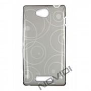 Capa em TPU Desenhada com Circulos para Sony Xperia C - Cor Grafite / Branca