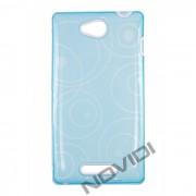 Capa em TPU Desenhada com Circulos para Sony Xperia C - Cor Azul / Branca