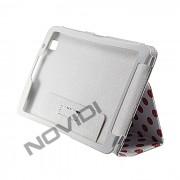 Capa Smart Cover Dobravél com Bolinhas Samsung Galaxy TabPro 8.4 T320 - Cor Branca / Rosa