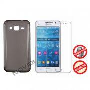 Kit Capa de TPU Premium + Película Pro Fosca para Samsung Galaxy Gran Prime Duos G530 - Cor Grafite