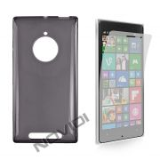 Kit Capa em TPU + Película Transparente para Nokia Lumia 830 - Cor Grafite