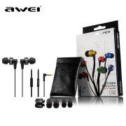 Fone de ouvido Premium estéreo Mega Mass High Performance com microfone AWEI ES900i
