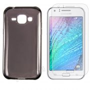 Kit Capa Ultra Slim + Película Transparente para Samsung Galaxy J1 - Cor Grafite