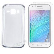 Kit Capa Ultra Slim + Película Transparente para Samsung Galaxy J1 - Cor Transparente